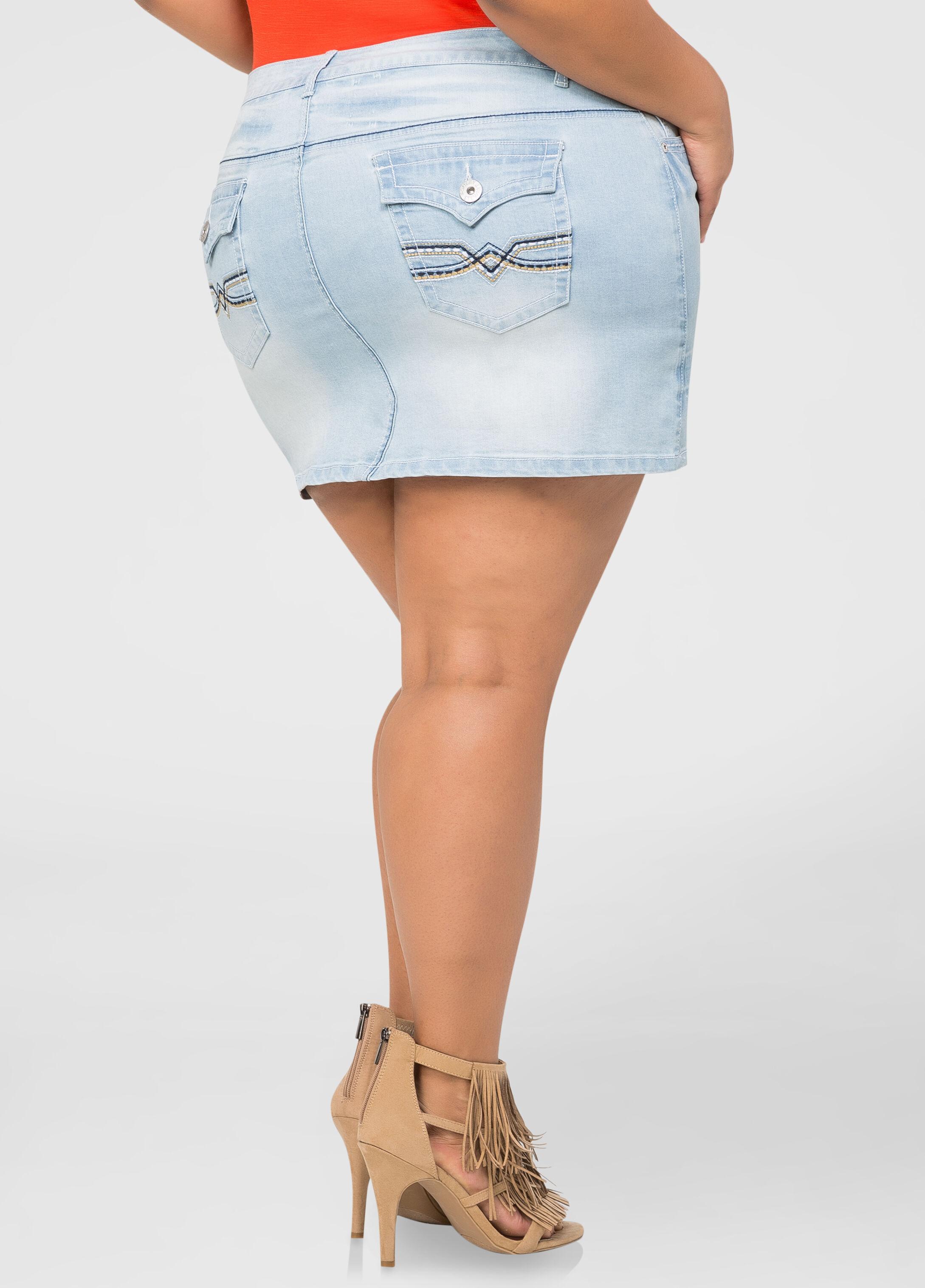 Denim Mini Skirt-Plus Size Jeans-Ashley Stewart-034-PA3523X