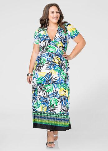 Palm Print Wrap Maxi Dress