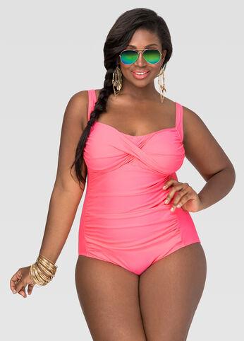Shirred Power Mesh Swimsuit