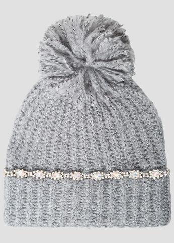Rhinestone Embellished Knit Pom Pom Beanie