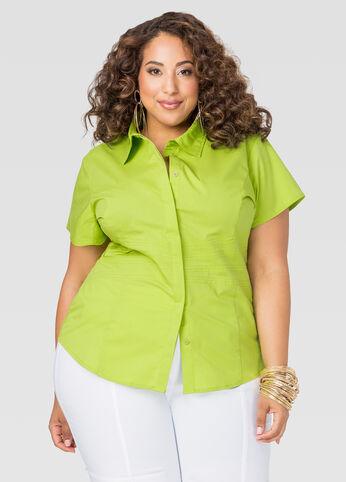 Cap Sleeve Waist Seam Shirt