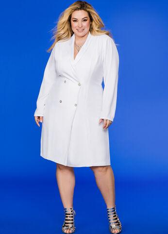 Tuxedo Jacket Dress White - Dresses