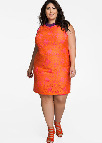 Two Tone Contrast Lace Sheath Dress