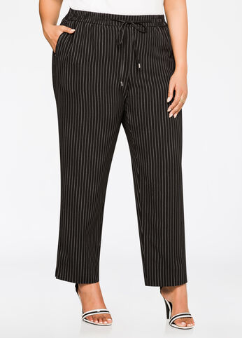 Pinstripe Straight Leg Pant Black White - Bottoms