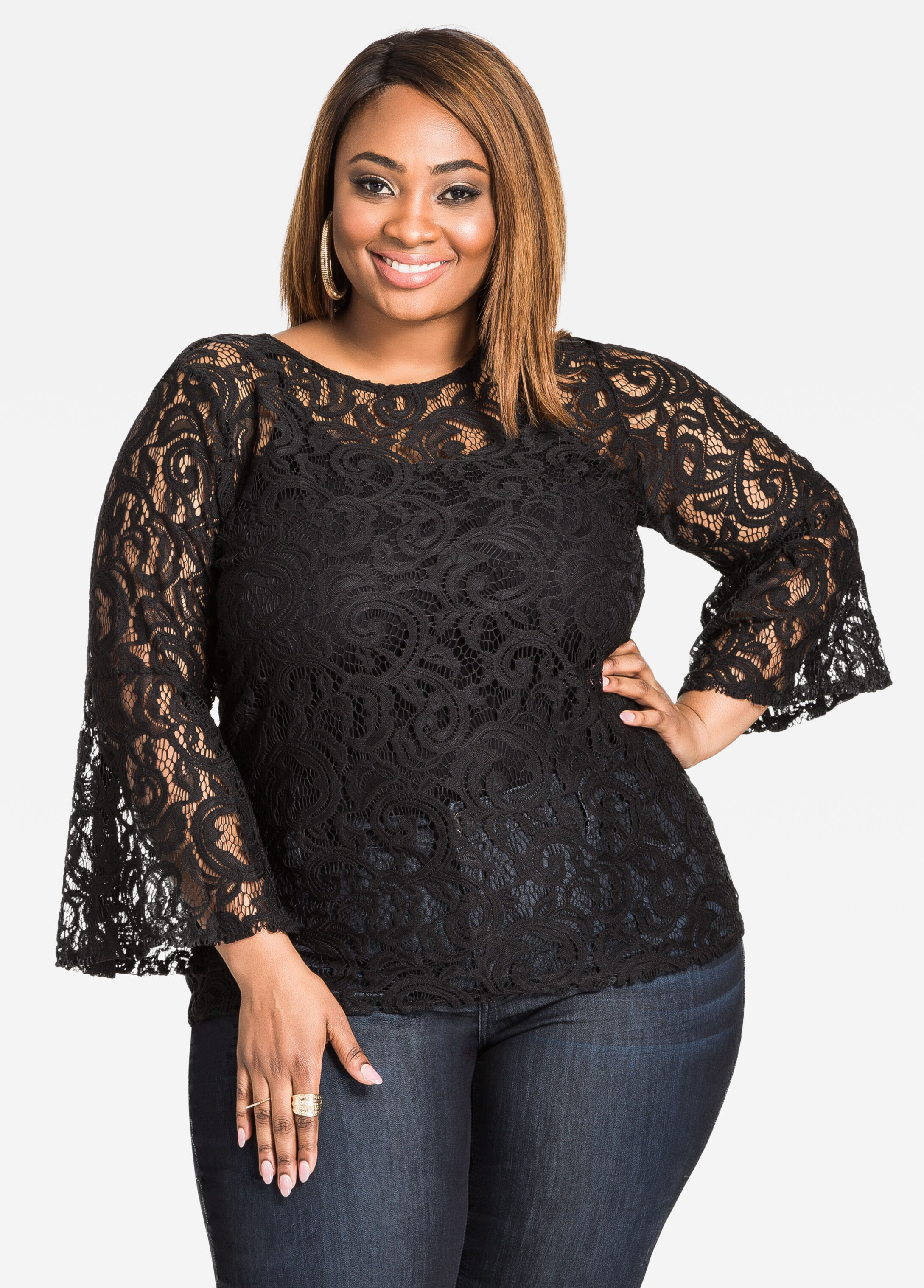 Buy Plus Size Sheer Black Tops - Ashley Stewart