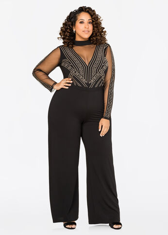 Illusion Plunge Stud Jumpsuit
