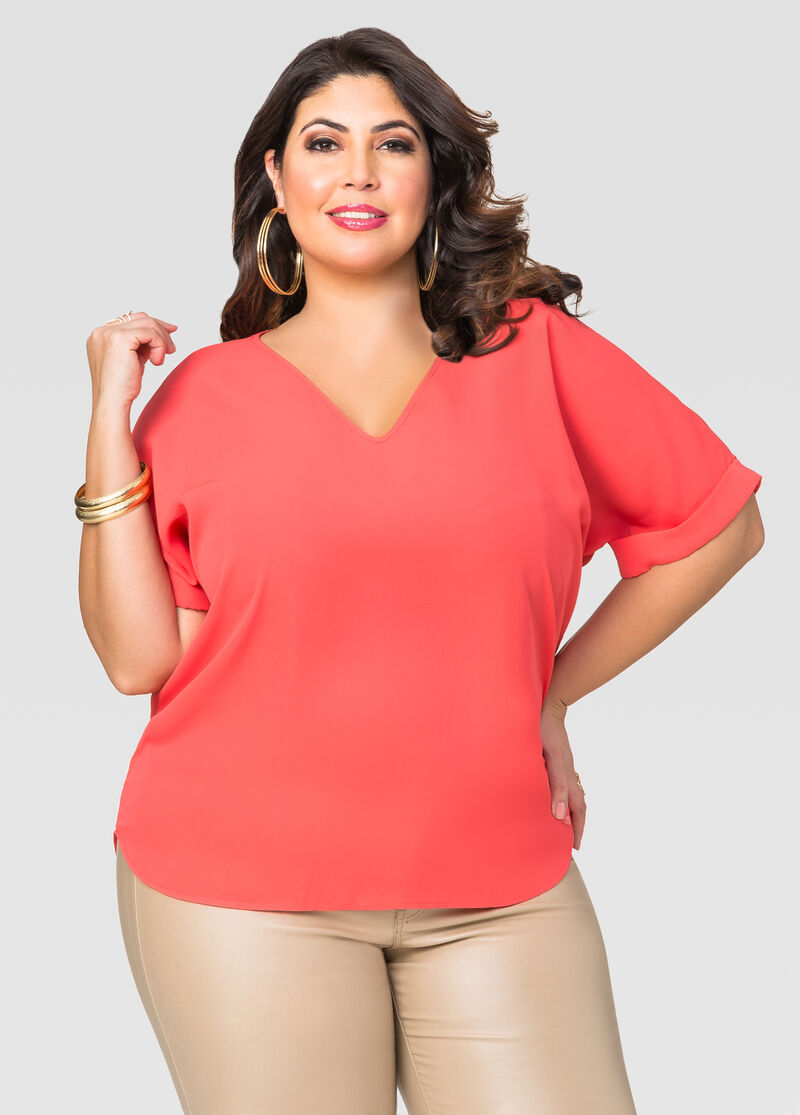 Back Seam Tee-Plus Size Blouses-Ashley Stewart