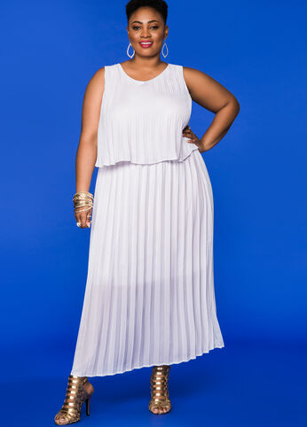 Pleated Tiered Maxi Dress White - Dresses