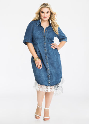 Lace Hem Denim Shirtdress