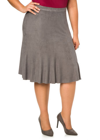 Faux Suede A-Line Midi Skirt