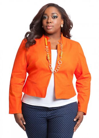 Linen Stretch Mandarin Collar Jacket