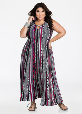 Keyhole Tribal Print Maxi Dress