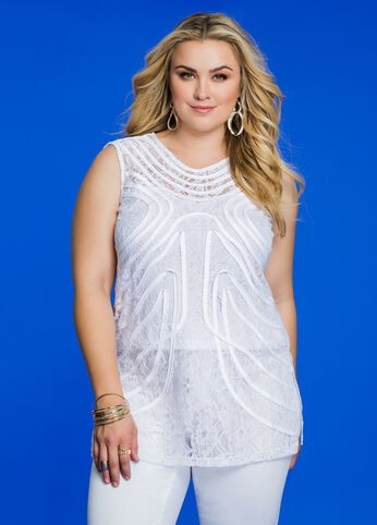 Piped Lace Overlay Sleeveless Top