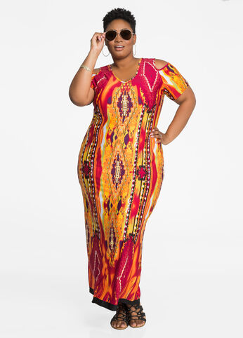 Cold Shoulder Tribal Print Maxi Dress