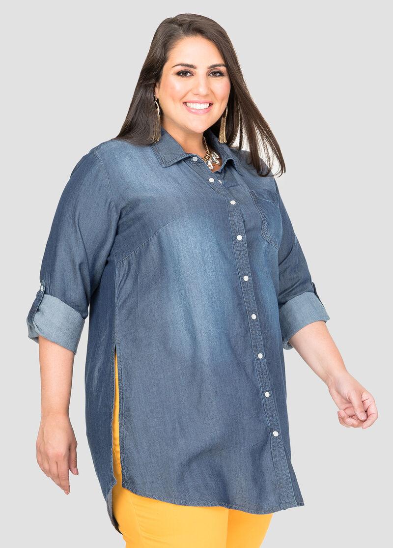 Tencel Denim Tunic-Plus Size Shirts-Ashley Stewart-035-5247AS