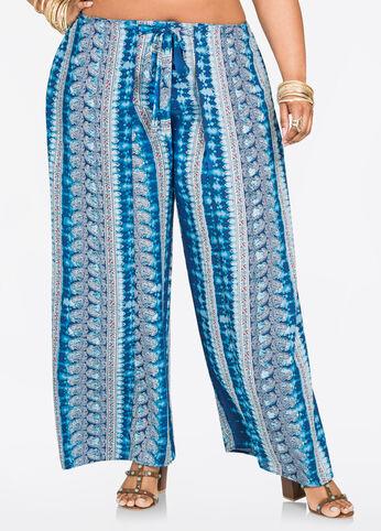 Bandana Print Flyaway Wrap Pant Medieval Blue - Bottoms