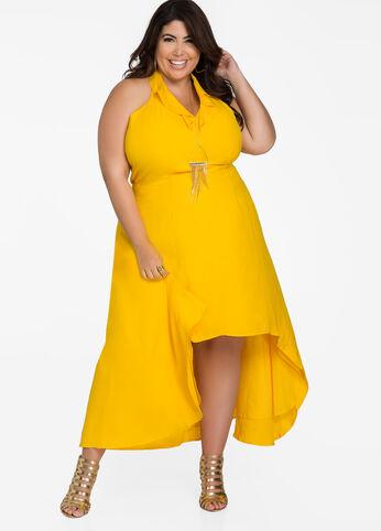 Ruffle Top Hi-Lo Halter Maxi Dress Solar Power - Dresses