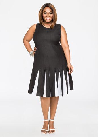 Colorblock Ramie Dress Black White - Dresses