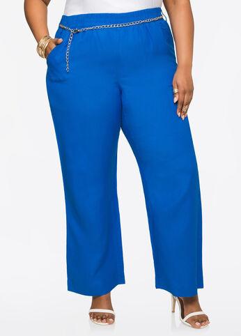 Chain Link Linen Pants Victoria Blue - Bottoms