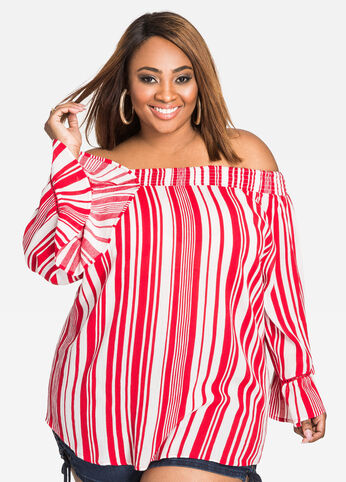 Smocked Off-Shoulder Striped Top Barbados Cherry - Tops