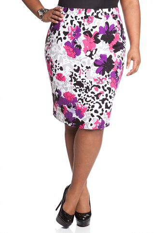 Linen Floral Print Pencil Skirt
