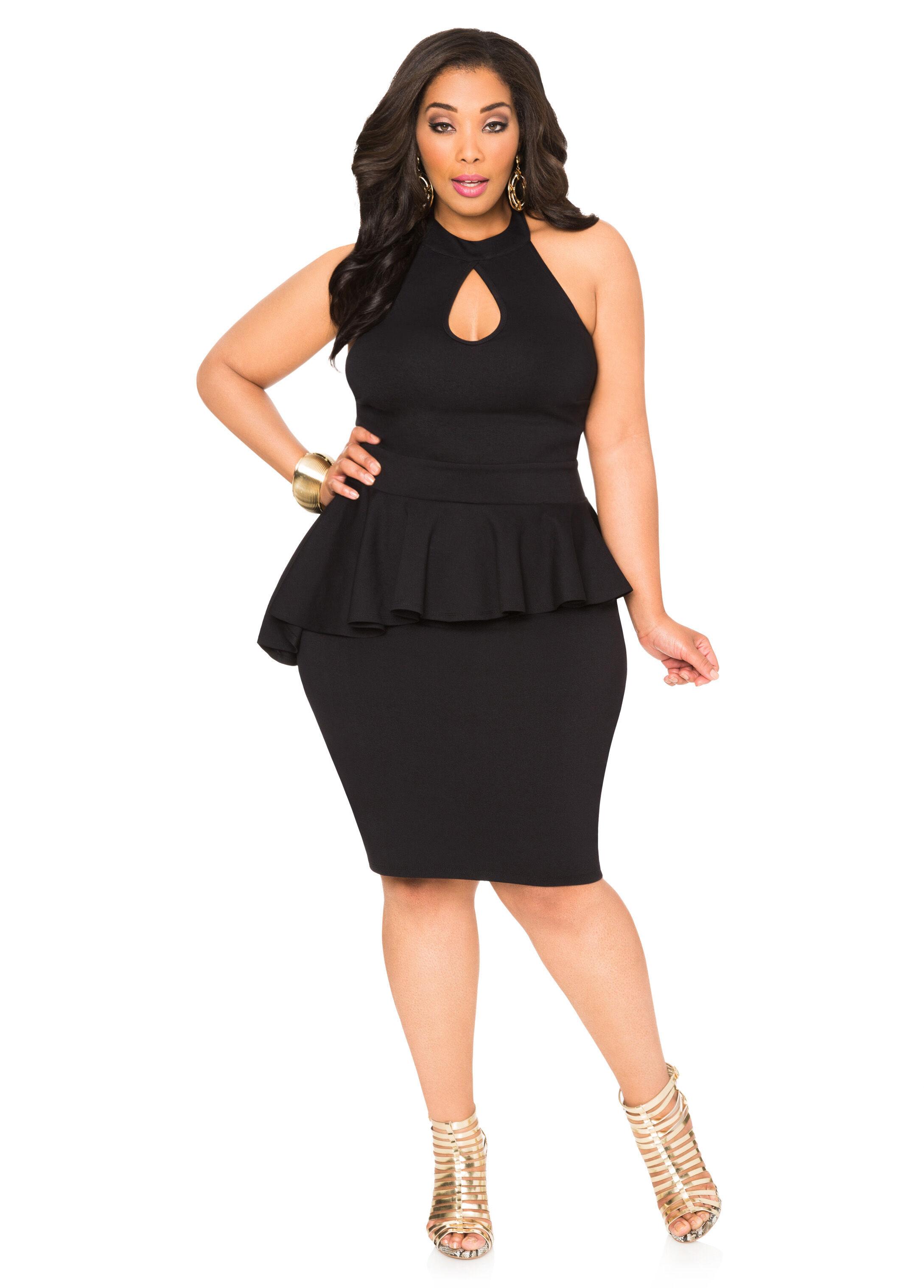 Asymmetrical Peplum Halter Dress-Plus Size Dresses-Ashley Stewart