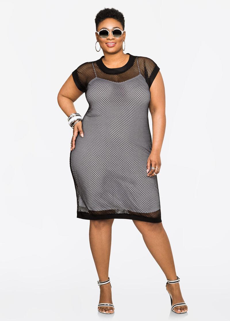 c072da9194d Plus Size Dresses - Sporty Mesh Tank Dress - 010-137W-1330