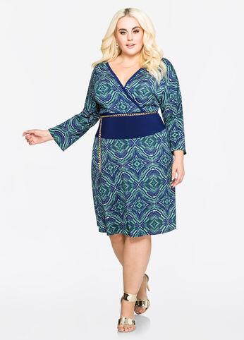 Printed Colorblock Waist Dress