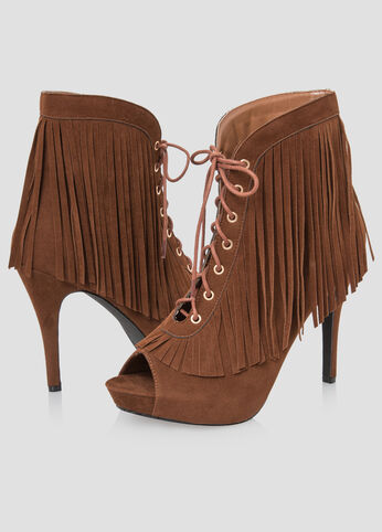 Lace-Up Fringe Bootie - Wide Width