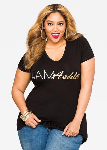Hi-Lo #IAmAshley Tee Black - Tops