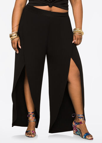 Scuba Crepe Pant with Open Sides Black - Bottoms