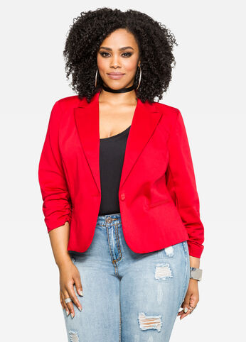 Ruched Sleeve Solid Sateen Blazer