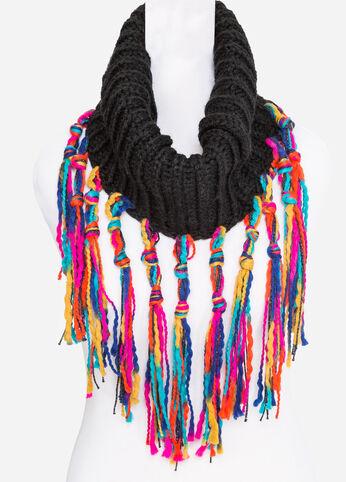 Multi Colored Fringe Knit Snood