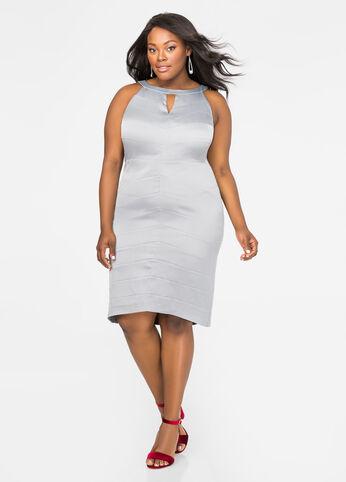 Satin Chevron Halter Dress