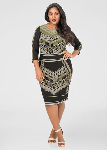Chevron Dot Bodycon Dress