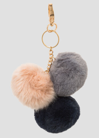 Triple Fur Pom Key Chain Charm