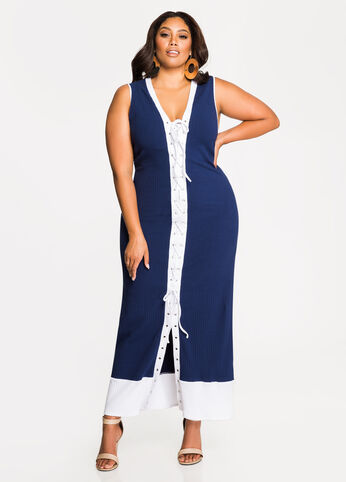Lace-Up Front Ribbed Maxi Dress