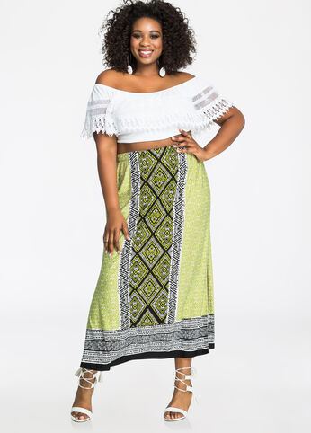 Tribal Print Border Maxi Skirt