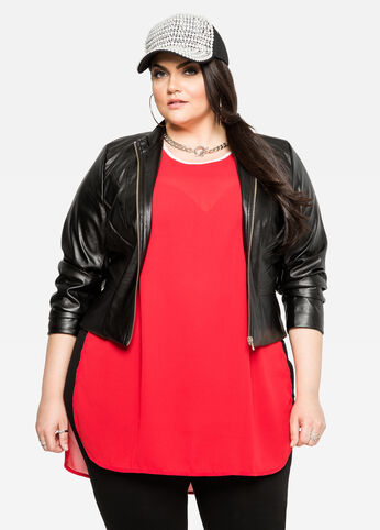 Seam Detail Faux Leather Jacket Black - Outerwear