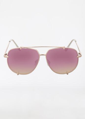 Geometric Shaped Aviator Sunglasses with Metal Frame