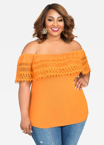 Crocheted Lace Off-Shoulder Top Orange Ochre - Tops