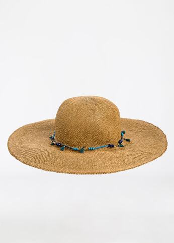 Woven Floppy Hat with Beaded Chain Natural - Accessories