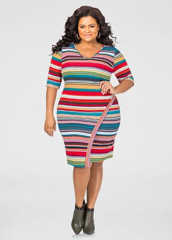 Striped Envelope Hem Dress