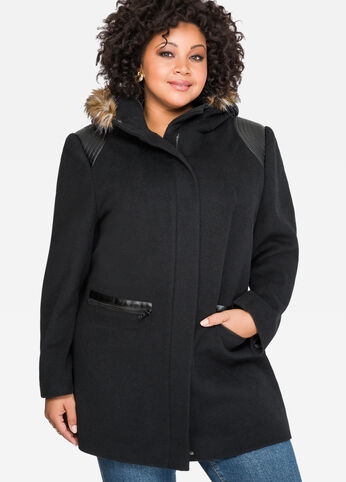 Faux Leather Trim Wool Coat