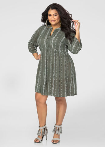 Printed Roll Tab Floater Dress