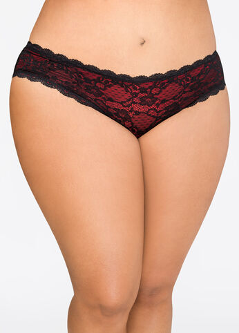Black Lace Overlay Boyleg Panty Red - Clearance