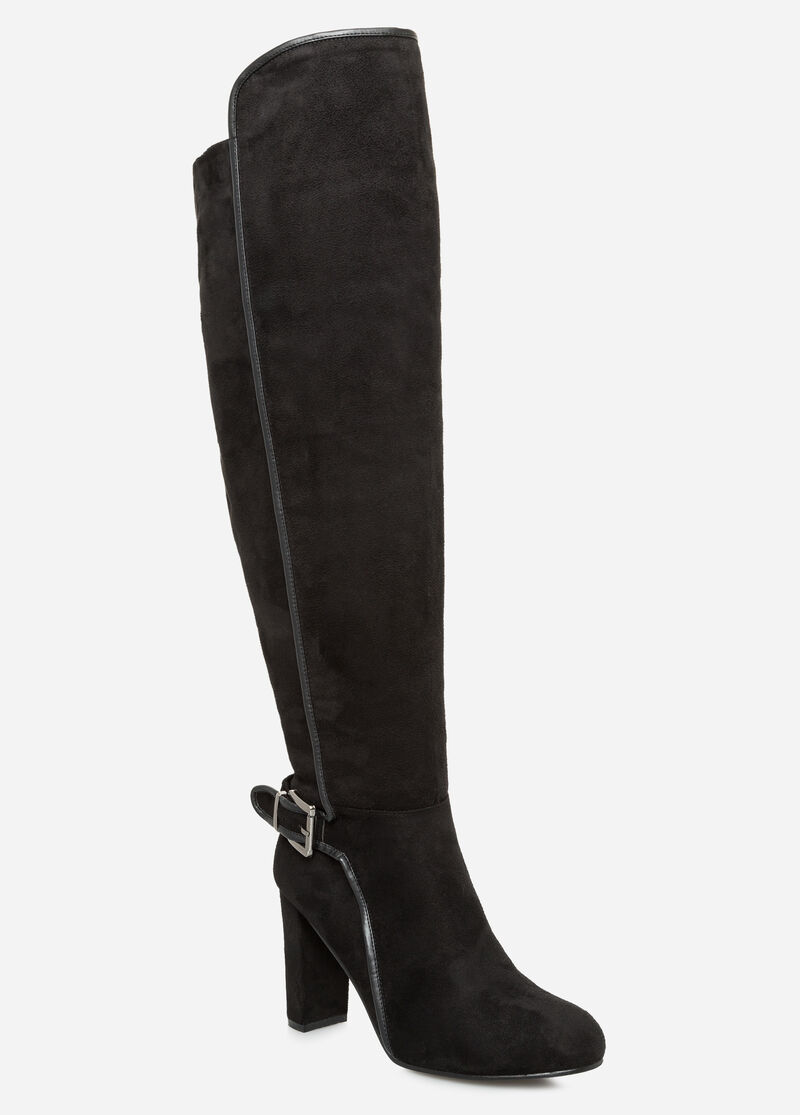 plus size suede knee high boot wide calf wide width 068