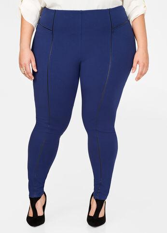 Faux Leather Trim Ponte Pant Medieval Blue - Clearance