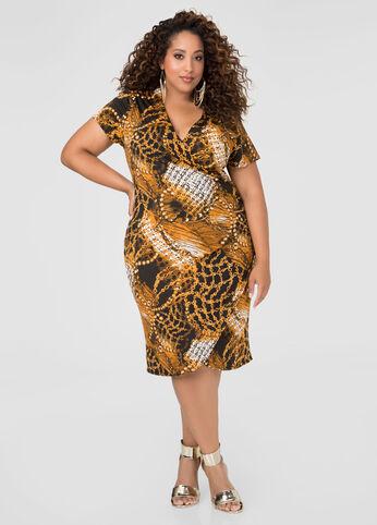Ruched Status Print Dress