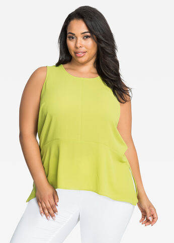 Sleeveless Crepe Hi-Lo Peplum Top Dark Citron - Tops